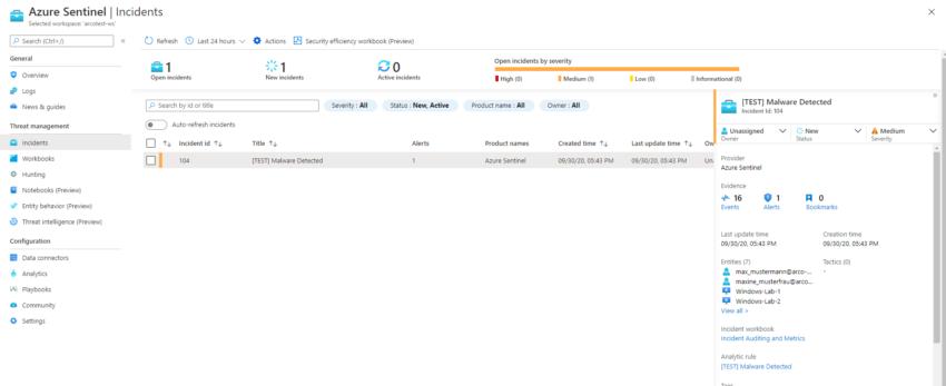 Screenshot of Azure Sentinel Incident dashboard