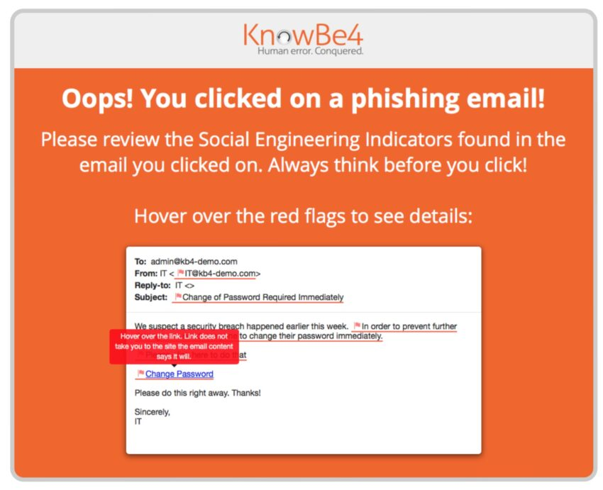 Image of the alert that appears when you click on a phishing email